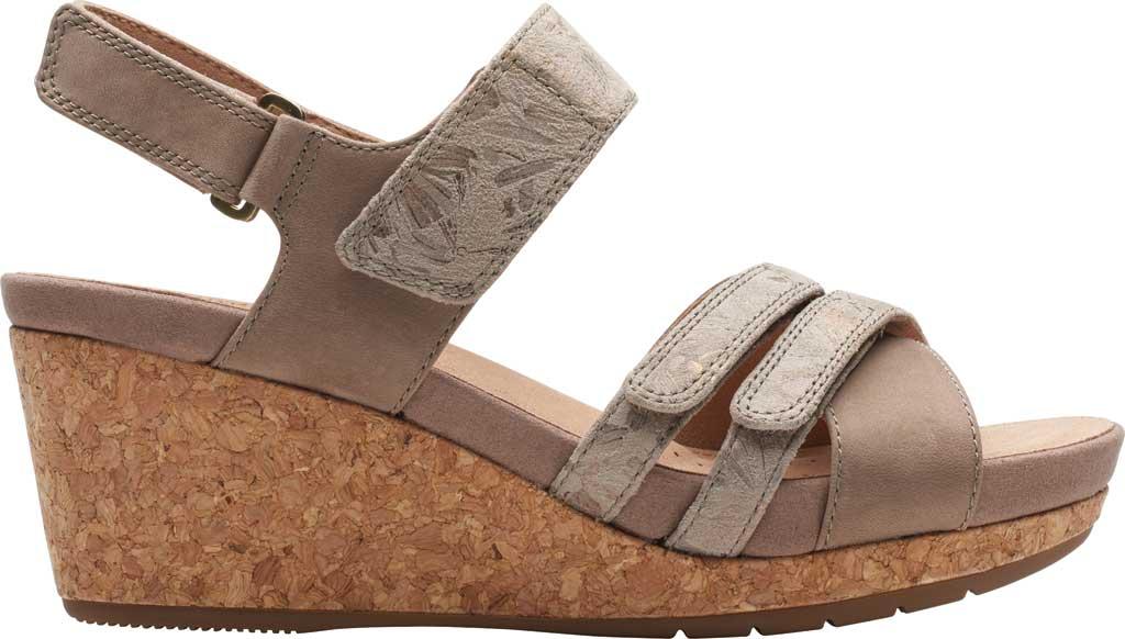 Women's Clarks Un Capri Walk Wedge Sandal, Taupe Nubuck/Leather, large, image 2