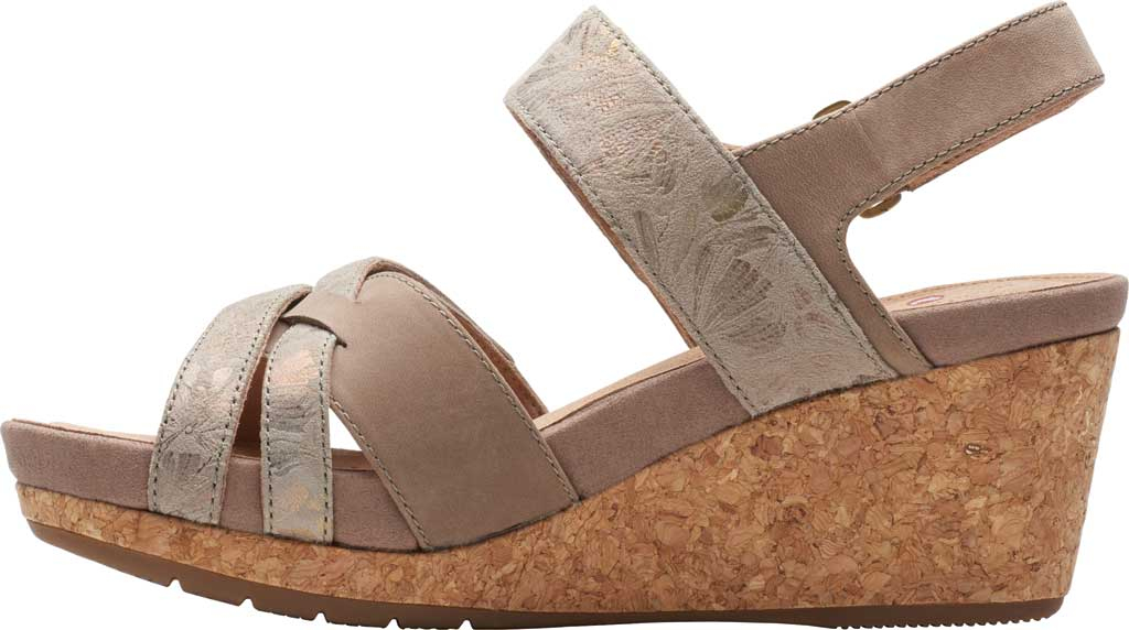 Women's Clarks Un Capri Walk Wedge Sandal, Taupe Nubuck/Leather, large, image 3