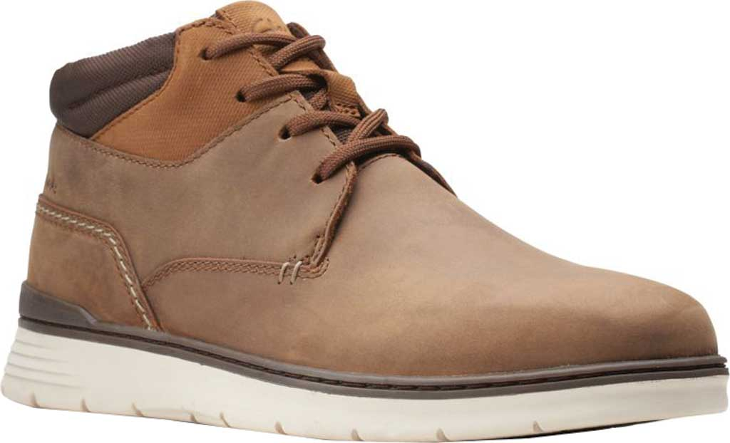Men's Clarks Braxin Mid Ankle Boot, Beeswax Combination Leather/Textile, large, image 1