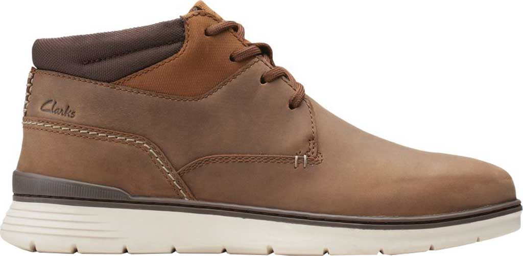 Men's Clarks Braxin Mid Ankle Boot, Beeswax Combination Leather/Textile, large, image 2