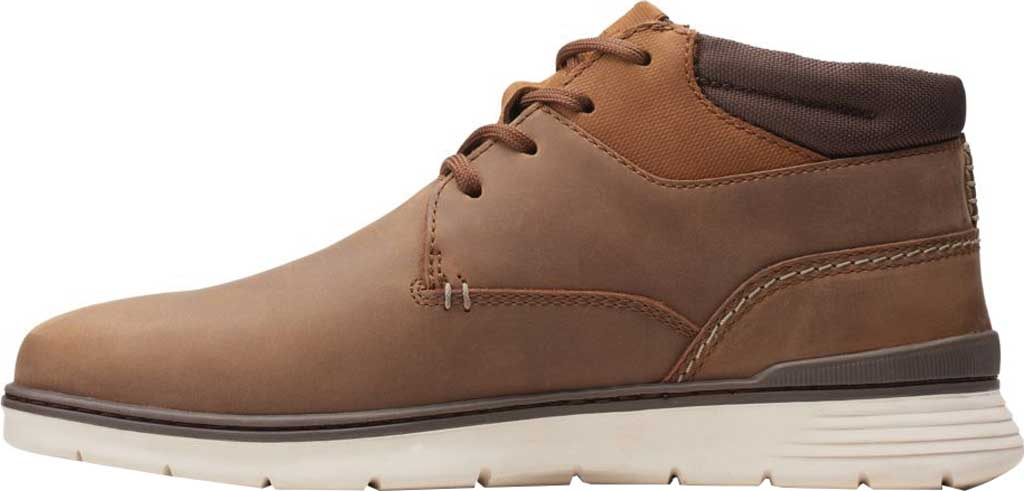 Men's Clarks Braxin Mid Ankle Boot, Beeswax Combination Leather/Textile, large, image 3