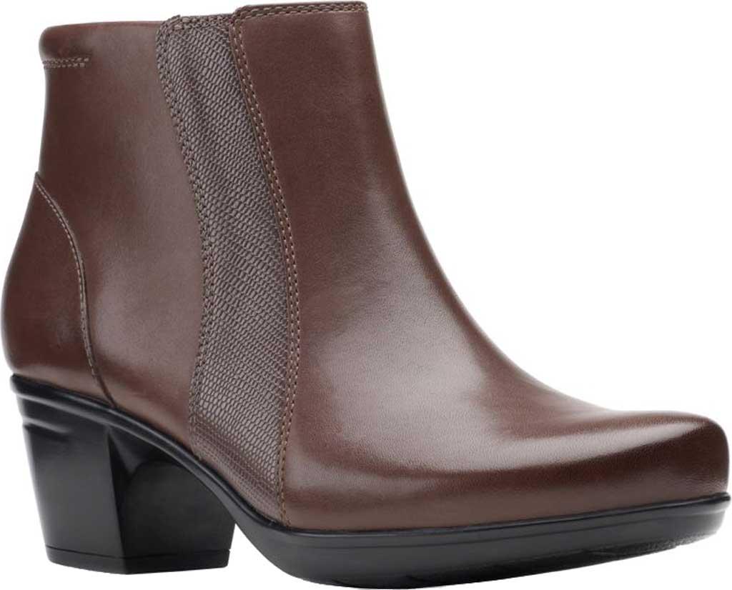 Women's Clarks Emslie Newport Ankle Boot, Dark Brown Full Grain Leather, large, image 1