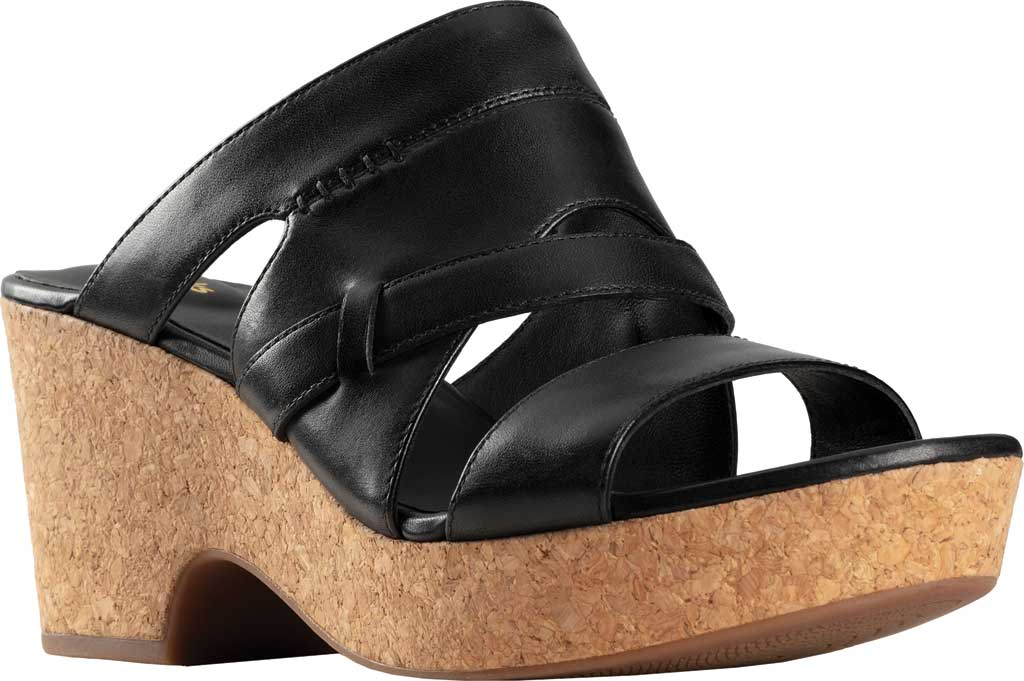 Women's Clarks Maritsa Strap Heeled Slide, Black Leather, large, image 1