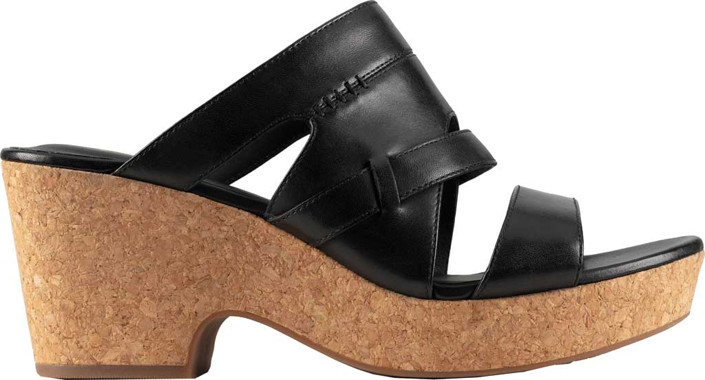 Women's Clarks Maritsa Strap Heeled Slide, Black Leather, large, image 2