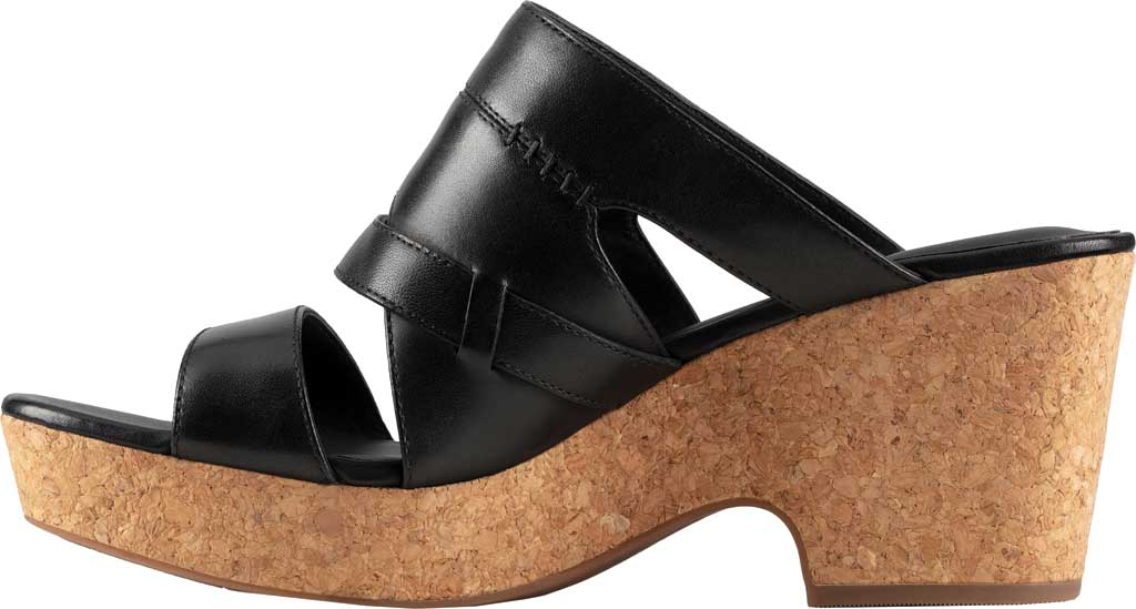 Women's Clarks Maritsa Strap Heeled Slide, Black Leather, large, image 3
