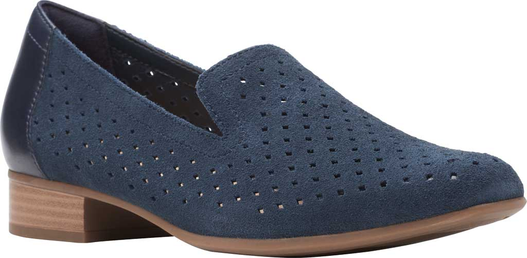 Women's Clarks Juliet Hayes Perf Loafer, Navy Suede, large, image 1