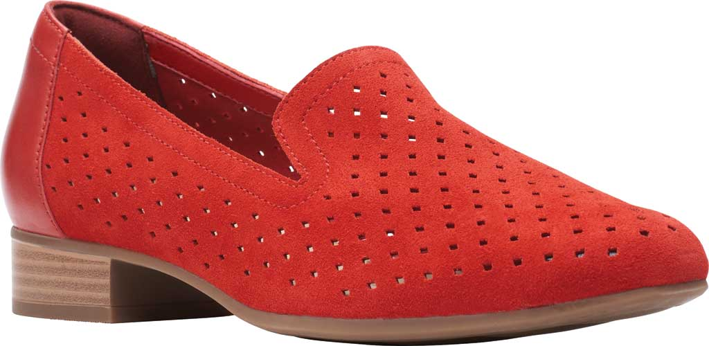 Women's Clarks Juliet Hayes Perf Loafer, Red Suede, large, image 1