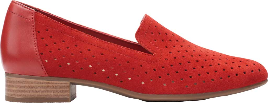 Women's Clarks Juliet Hayes Perf Loafer, Red Suede, large, image 2