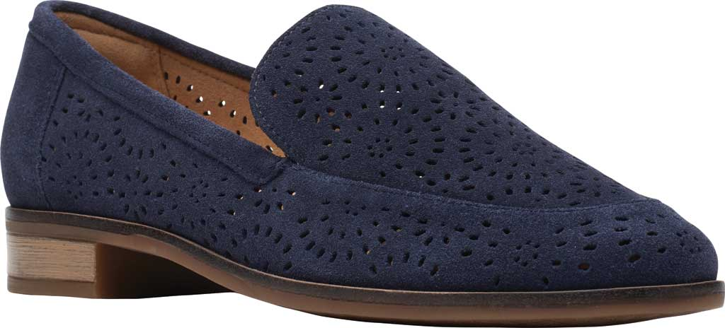 Women's Clarks Trish Calla Loafer, Navy Suede, large, image 1