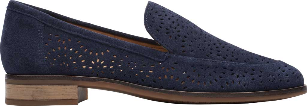 Women's Clarks Trish Calla Loafer, Navy Suede, large, image 2