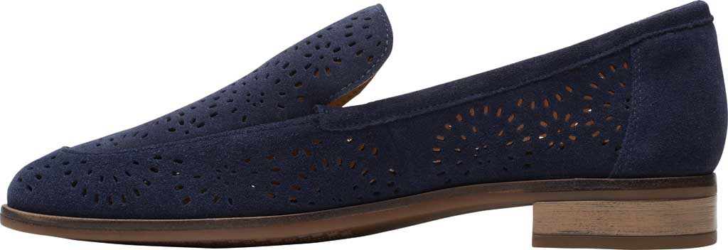 Women's Clarks Trish Calla Loafer, Navy Suede, large, image 3