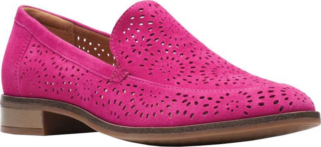 Women's Clarks Trish Calla Loafer, Hot Pink Suede, large, image 1
