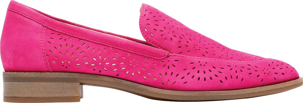 Women's Clarks Trish Calla Loafer, Hot Pink Suede, large, image 2