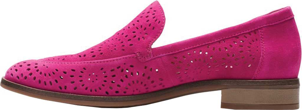 Women's Clarks Trish Calla Loafer, Hot Pink Suede, large, image 3
