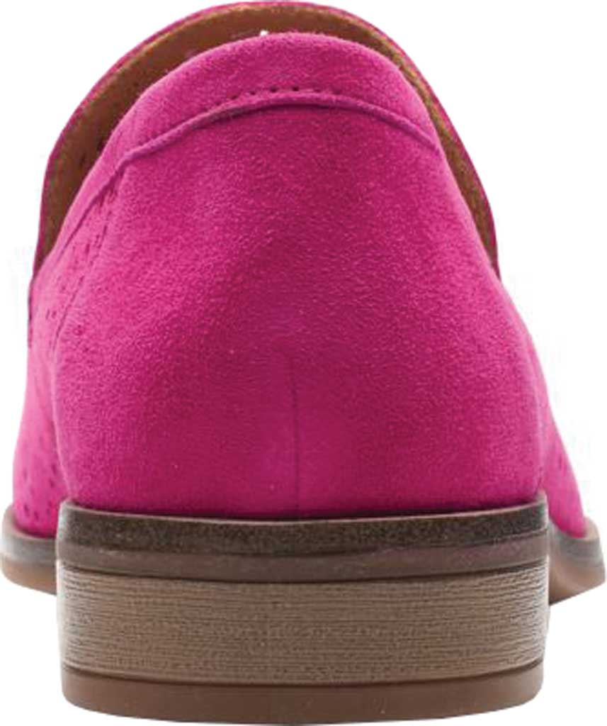 Women's Clarks Trish Calla Loafer, Hot Pink Suede, large, image 4
