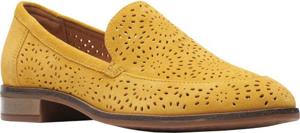 Women's Clarks Trish Calla Loafer, Golden Yellow Suede, large, image 1