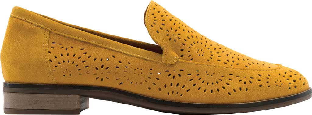 Women's Clarks Trish Calla Loafer, Golden Yellow Suede, large, image 2