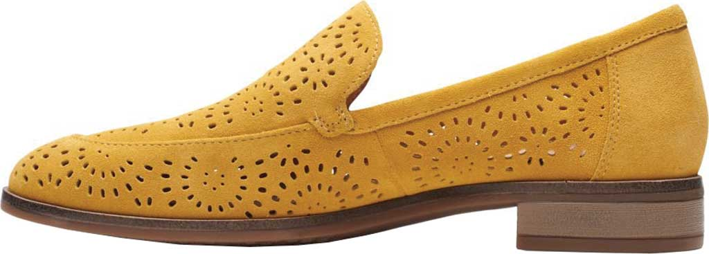 Women's Clarks Trish Calla Loafer, Golden Yellow Suede, large, image 3