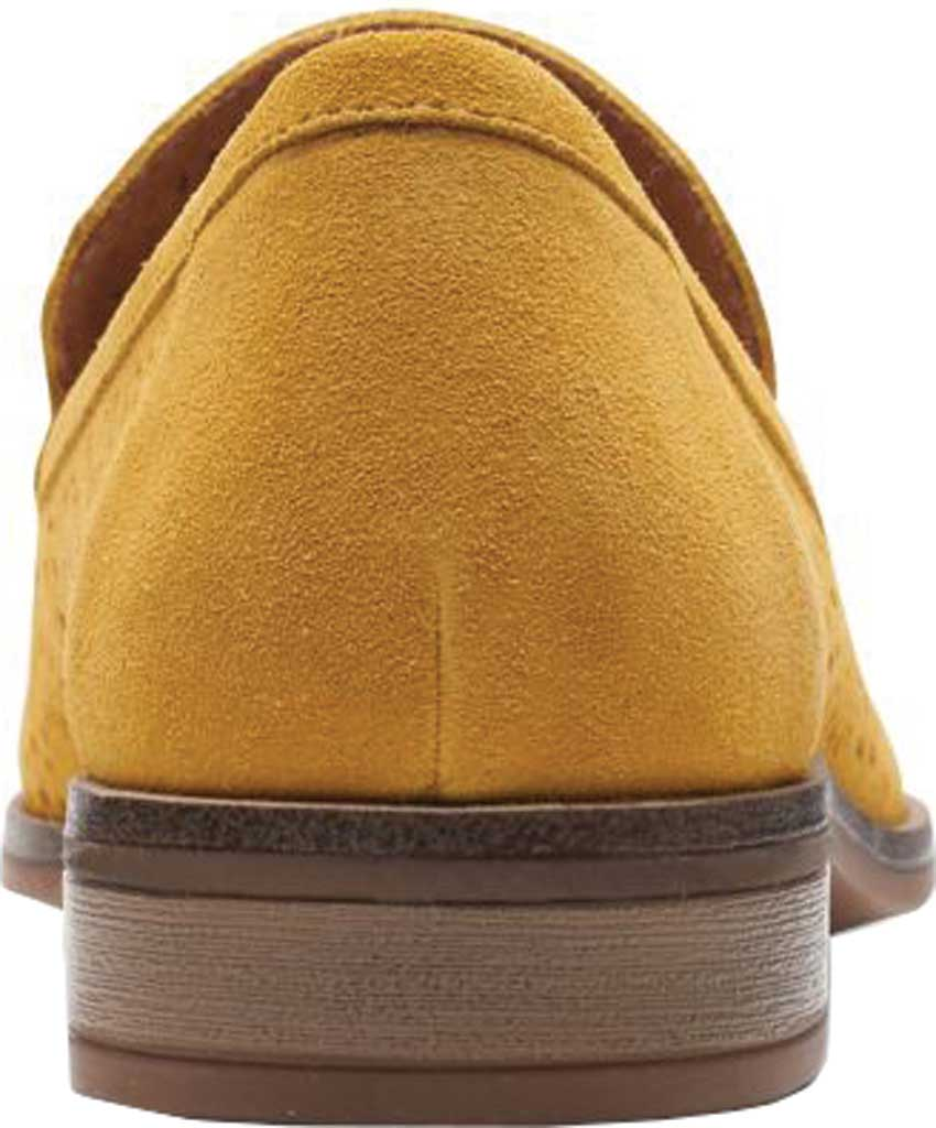 Women's Clarks Trish Calla Loafer, Golden Yellow Suede, large, image 4
