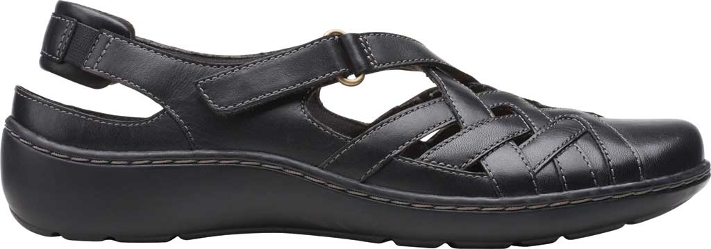 Women's Clarks Cora Dream Closed Toe Sandal, Black Leather, large, image 2