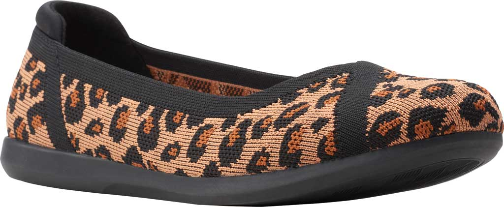 Women's Clarks Carly Wish Ballet Flat, Dark Tan/Black Interest Knit, large, image 1