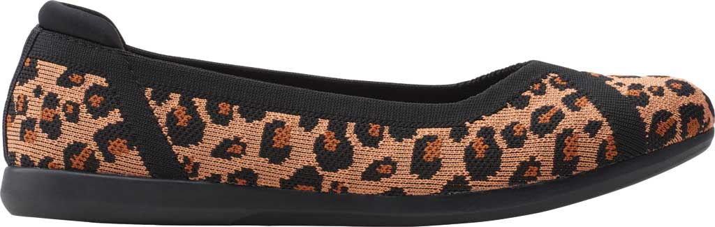 Women's Clarks Carly Wish Ballet Flat, Dark Tan/Black Interest Knit, large, image 2