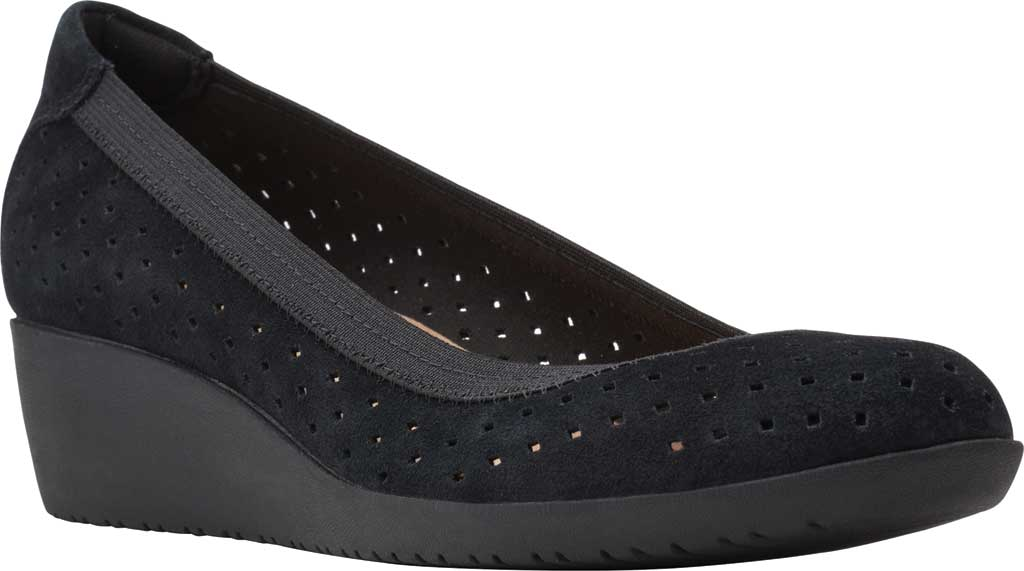 Women's Clarks Elin Sun Perforated Wedge Heel, Black Perforated Suede, large, image 1