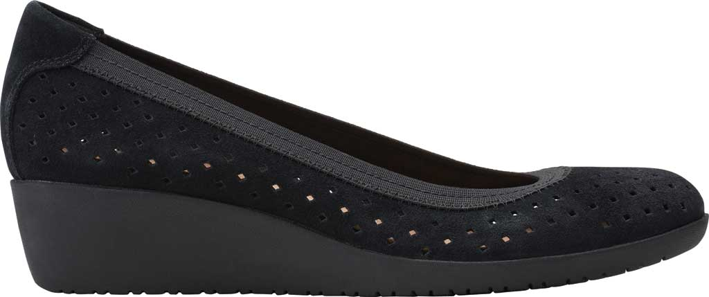 Women's Clarks Elin Sun Perforated Wedge Heel, Black Perforated Suede, large, image 2