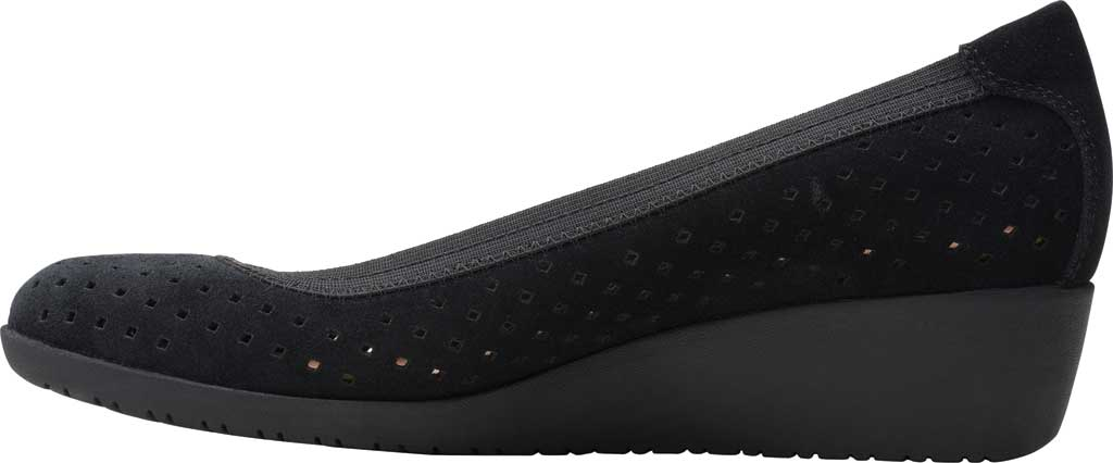 Women's Clarks Elin Sun Perforated Wedge Heel, Black Perforated Suede, large, image 3