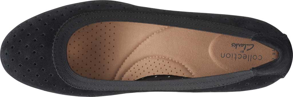 Women's Clarks Elin Sun Perforated Wedge Heel, Black Perforated Suede, large, image 5