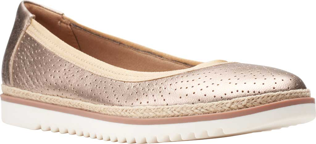 Women's Clarks Serena Kellyn Ballet Flat, Metallic Perforated Leather, large, image 1
