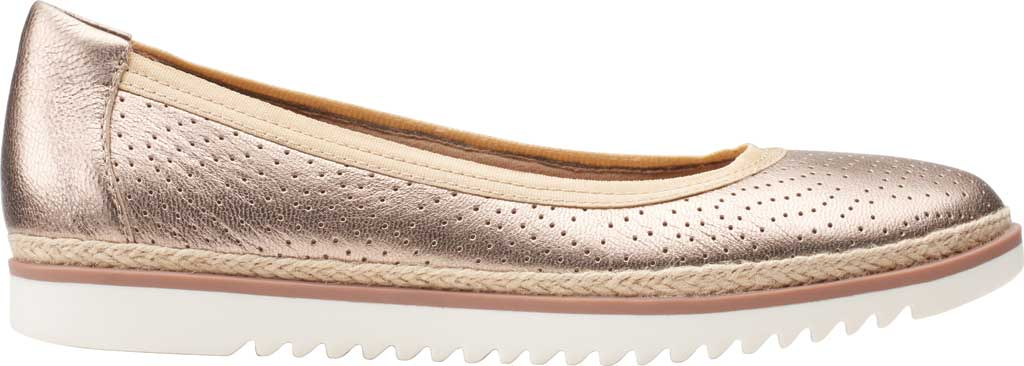Women's Clarks Serena Kellyn Ballet Flat, Metallic Perforated Leather, large, image 2