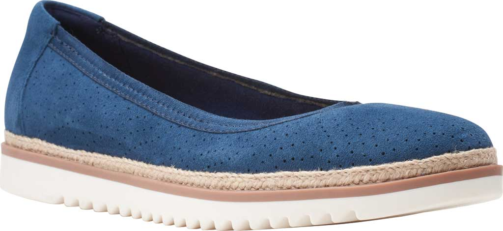 Women's Clarks Serena Kellyn Ballet Flat, Navy Perforated Suede, large, image 1