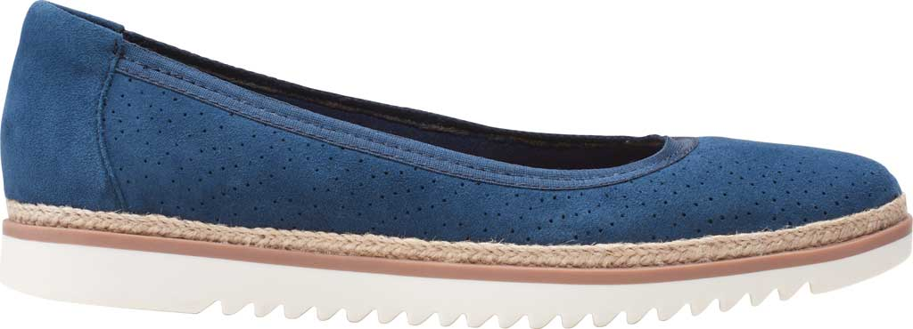 Women's Clarks Serena Kellyn Ballet Flat, Navy Perforated Suede, large, image 2