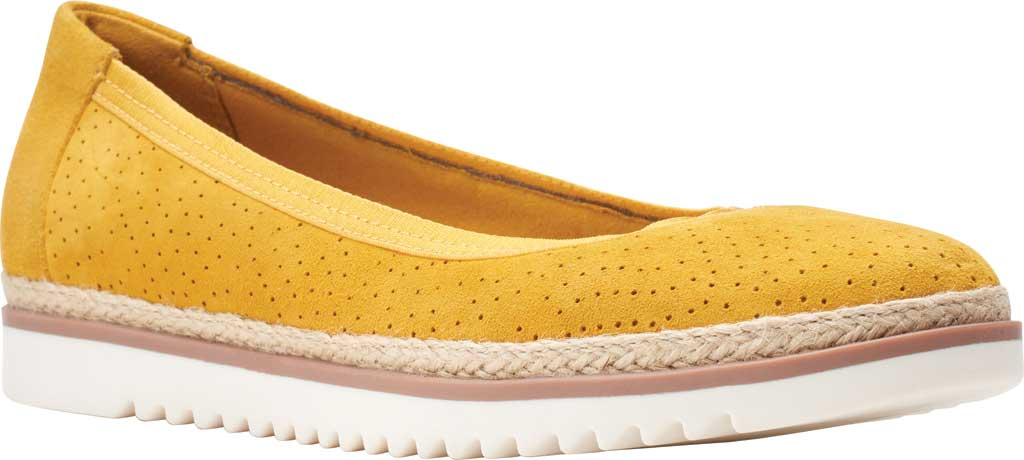 Women's Clarks Serena Kellyn Ballet Flat, Yellow Perforated Suede, large, image 1