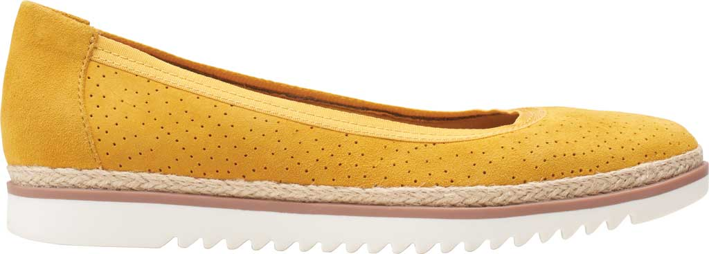 Women's Clarks Serena Kellyn Ballet Flat, Yellow Perforated Suede, large, image 2