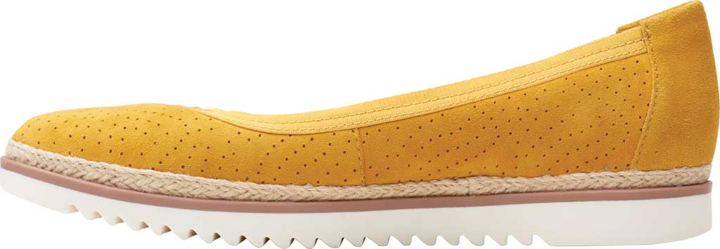 Women's Clarks Serena Kellyn Ballet Flat, Yellow Perforated Suede, large, image 3