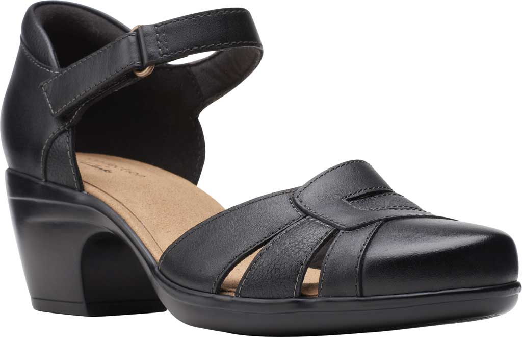 Women's Clarks Emily Daisy Ankle Strap Closed Toe Sandal, Black Leather Combination, large, image 1