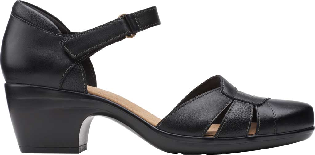Women's Clarks Emily Daisy Ankle Strap Closed Toe Sandal, Black Leather Combination, large, image 2