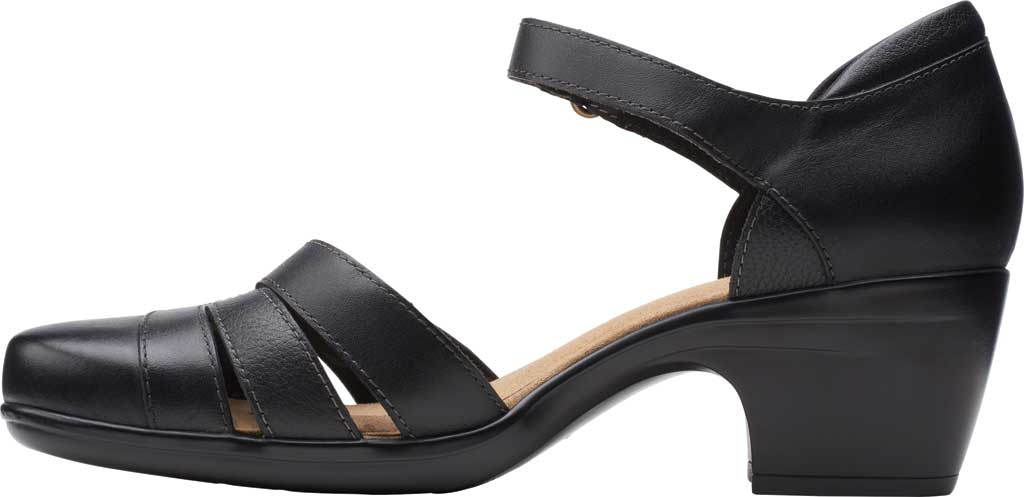 Women's Clarks Emily Daisy Ankle Strap Closed Toe Sandal, Black Leather Combination, large, image 3