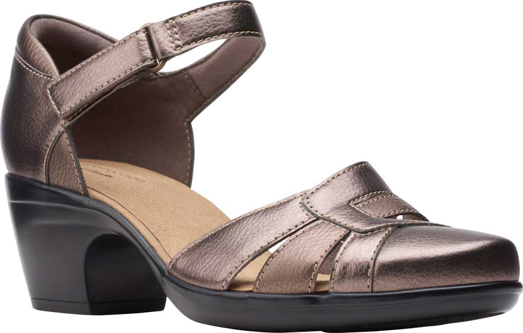 Women's Clarks Emily Daisy Ankle Strap Closed Toe Sandal, Metallic Synthetic Combination, large, image 1
