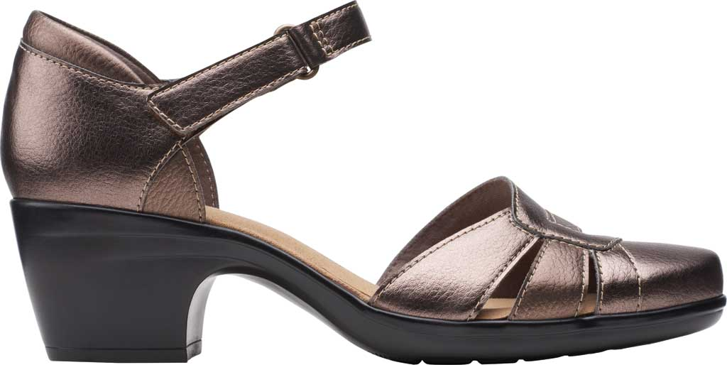 Women's Clarks Emily Daisy Ankle Strap Closed Toe Sandal, Metallic Synthetic Combination, large, image 2