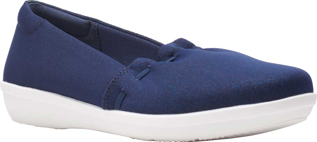 Women's Clarks Ayla Shine Slip On Sneaker, Navy Sparkle Textile, large, image 1