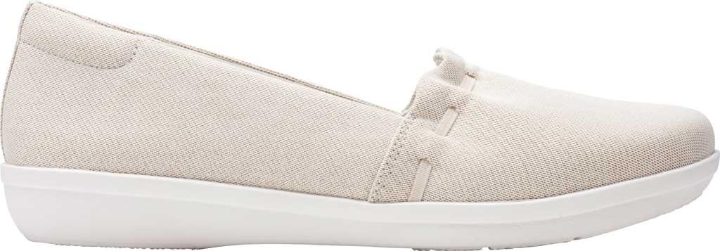 Women's Clarks Ayla Shine Slip On Sneaker, Champagne Metallic Textile, large, image 2