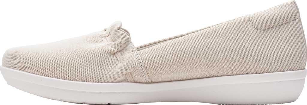 Women's Clarks Ayla Shine Slip On Sneaker, Champagne Metallic Textile, large, image 3