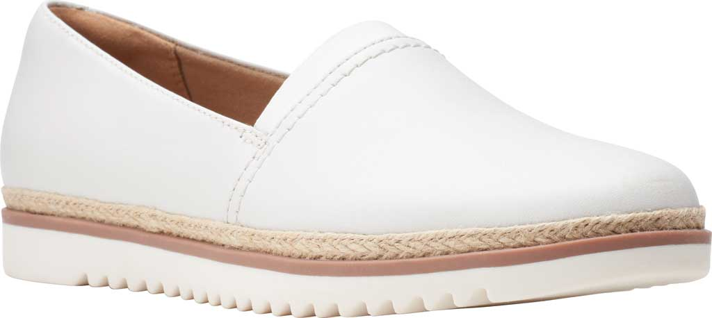 Women's Clarks Serena Paige Slip On Flat, White Leather, large, image 1