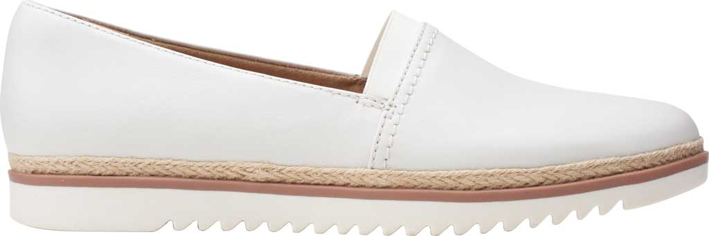 Women's Clarks Serena Paige Slip On Flat, White Leather, large, image 2