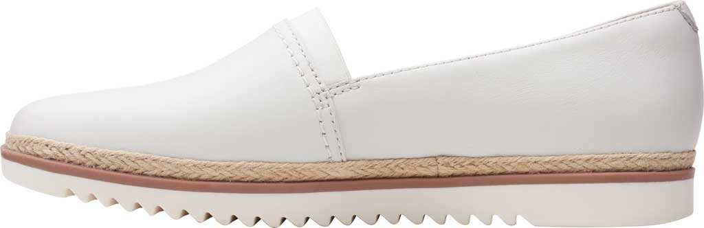 Women's Clarks Serena Paige Slip On Flat, White Leather, large, image 3