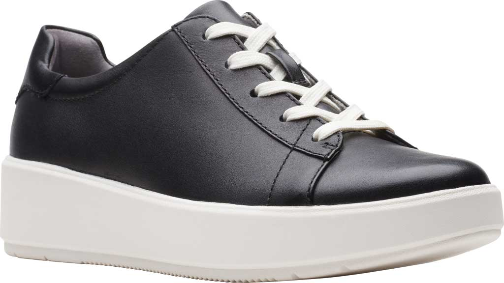 Women's Clarks Layton Pace Platform Sneaker, Black Leather, large, image 1