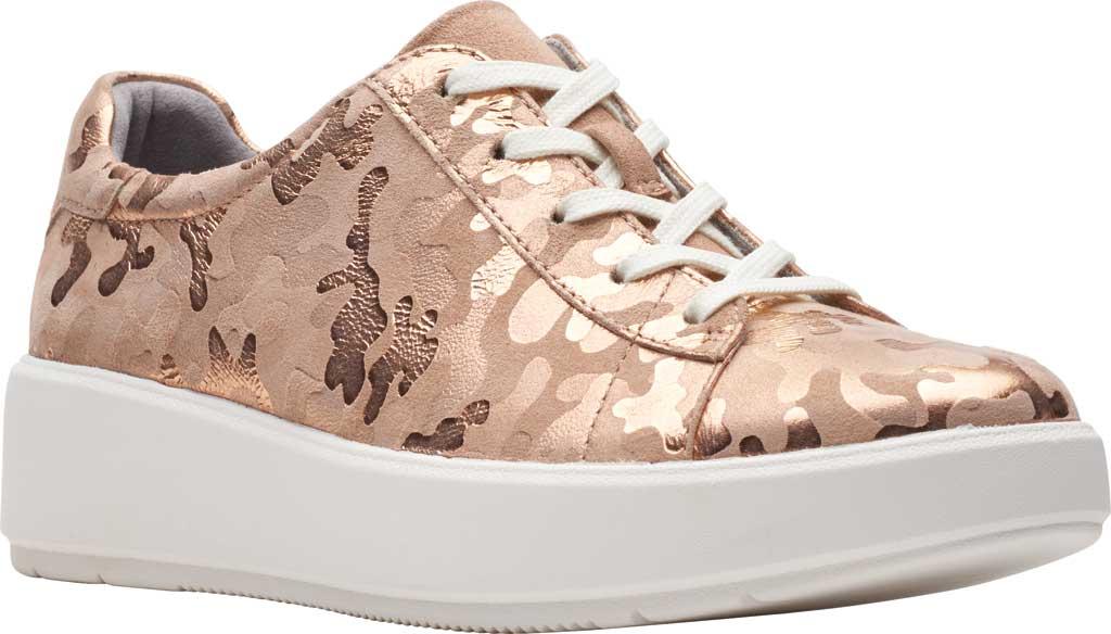Women's Clarks Layton Pace Platform Sneaker, Rose Gold Suede Interest, large, image 1